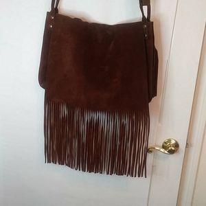Vintage Lucky Brand Suede Messenger Bag